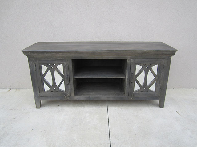 Two Door TV Stand With Mirror