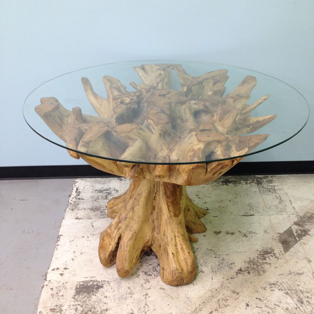 Teak Root Table with Glass Top - Nadeau Baton Rouge