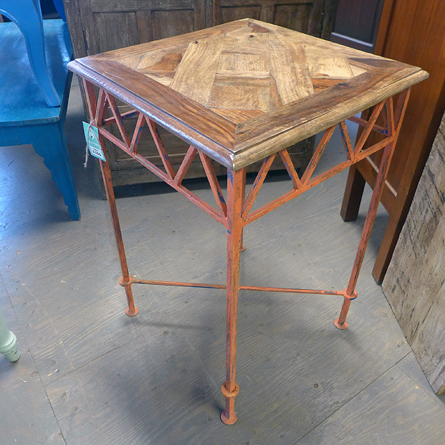 Iron wood side table nadeau chicago for Iron and wood side table