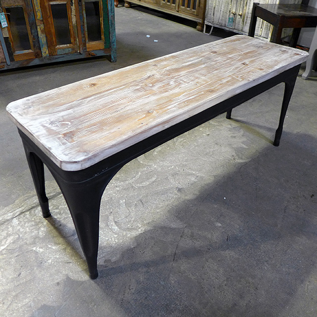 Iron And Wood Bench Nadeau Dallas
