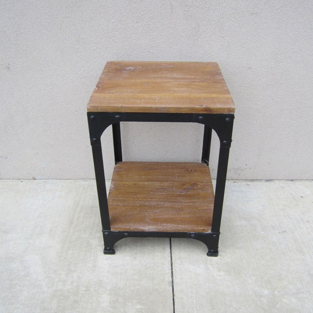 Iron and wood side table nadeau philadelphia for Iron and wood side table