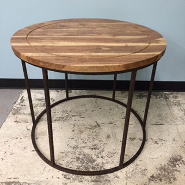 Round Iron Wood Table