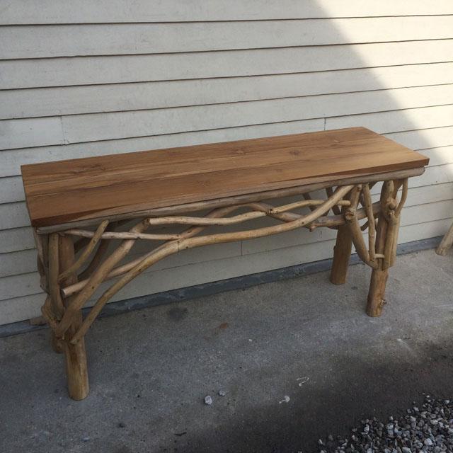 teak wood console table  nadeau baton rouge
