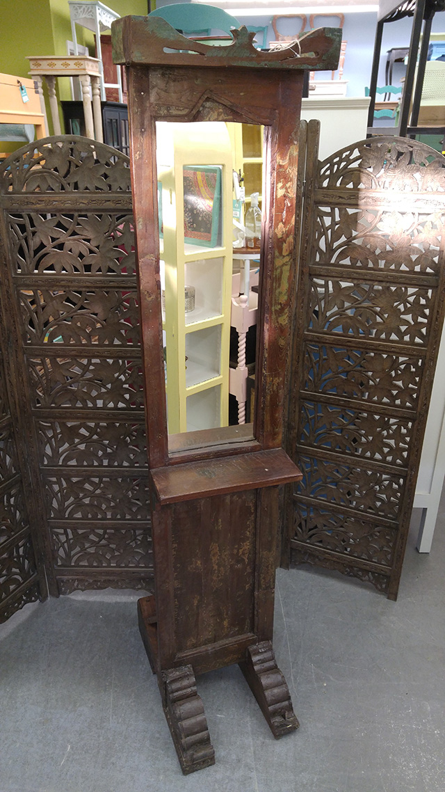Old Door Mirror With Stand