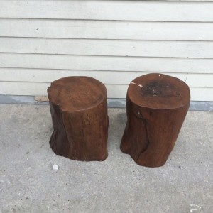 Abstract Teak Stool